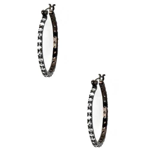 Doris 925 Sterling Silver Hoop Earrings Channel Set Cubic Zirconia Inlay in Slender Circle - Incl. ClassicDiamondHouse Free Gift Box & Cleaning Cloth