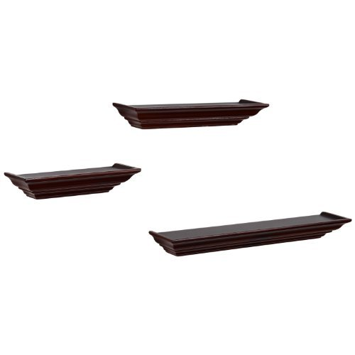 Adeco [WS0085] Decorative Home Decor Walnut Color Wood Floating Wall Shelves, Set of 3 Different Sizes