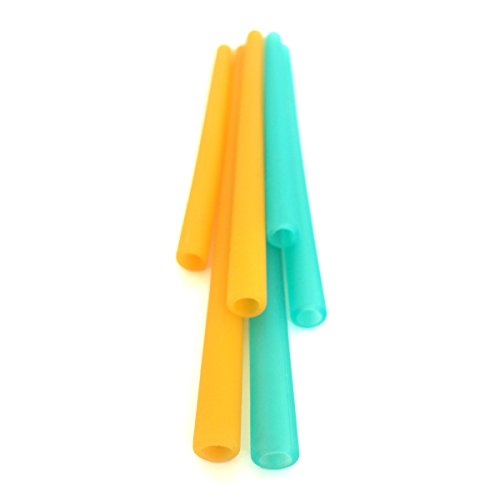 Silikids Siliskin Silicone Straws, Teal/Orange