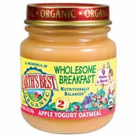 Earth's Best Organic Baby Food Wholesome Breakfast Apple Yogurt Oatmeal -- 4.5 oz