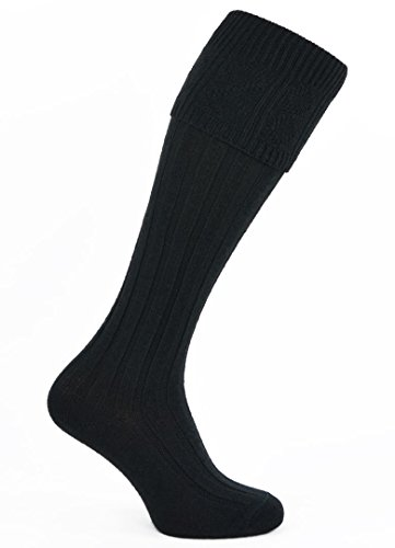 Mens Black Wool Morven Kilt Socks Hose (Mens Black Kilt Hose compare prices)
