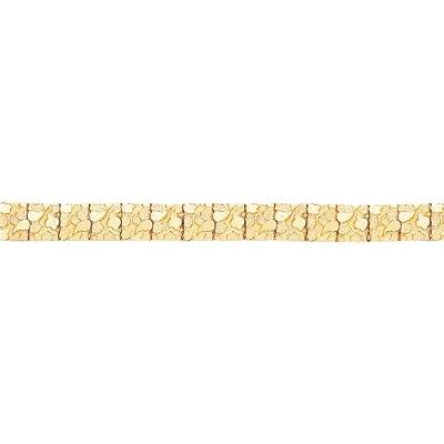 "14K Yellow Gold Nugget Bracelet Mens Jewelry 7"""