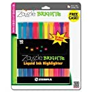 Zebra Zazzle Bright Fluorescent Ink Chisel Tip Highlighters, 10 Colored Highlighters
