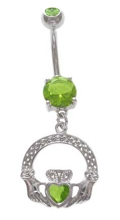 Lt Green Cubic Zirconia Claddagh Irish Friendship & Love Dangle Belly Button Navel Ring 14 Gauge