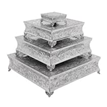 Rustic Aluminum Set of 4 Cake Stand