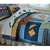 Construction Twin Quilt with Pillow Sham