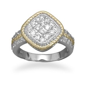 Sterling Silver Rhodium Plated Two Tone Diamond Shape CZ Ring / Size 6