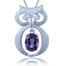 1.73ct. Natural Amethyst 925 Sterling Silver Wise Owl Pendant