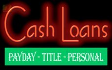 Cash Loans Payday Title Personal Neon Sign