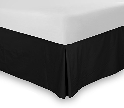 "Why Choose Bed Skirt (Queen, Black, 15"" fall) - Hotel Quality, Iron Easy, 4 Sided Pleating, Wri..."