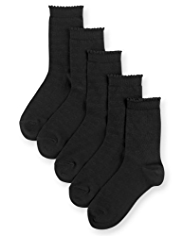 5 Pairs of Cotton Rich Heart Print Socks