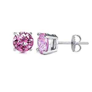 Sterling Silver Stud Earrings Pink Cubic Zirconia. 1.50 Carat Each Stone, Total Weight of 3.00 Carat. High Quality Casting Setting