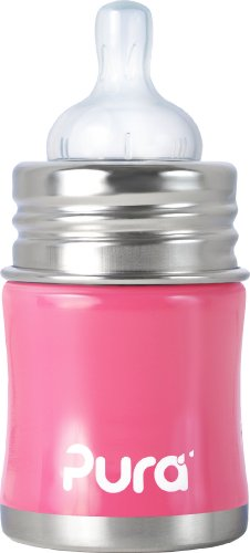 Pura Kiki Stainless Infant Bottle Stainless Steel With Natural Vent Nipple, 5 Ounce, Pretty Pink, 0-6 Months+