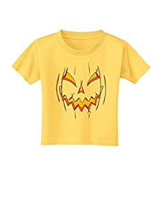 Scary Glow Evil Jack O Lantern Pumpkin Toddler T-Shirt - Yellow - 3T