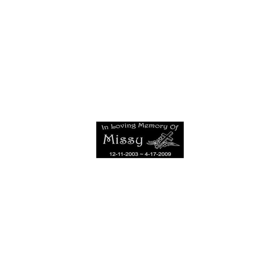 6 x 3 Lazer Gifts Personalized Black Granite Pet Memorial Marker Style Missy