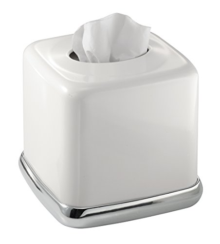 Mdesign wastebasket trash can with facial tissue box cover for Covered bathroom wastebasket