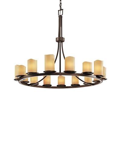 Justice Design Group 15-Light Candle Aria Dakota Chandelier, Dark Bronze/Cream