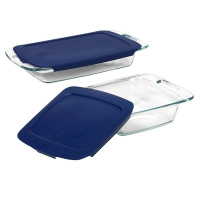 Easy Grab 4 Piece Bakeware Set with Blue Plastic Cover