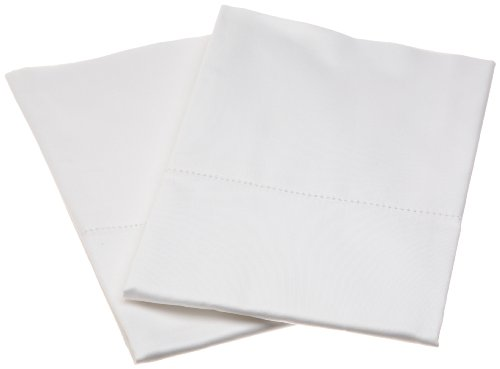 Pinzon Hemstitch 400-Thread-Count Egyptian Cotton Sateen King Pillowcase, Set of 2, White