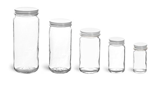 12 oz, Plastisol Lined Cap - Glass Jars, Clear Glass Paragon Jars w/ White Metal Lined Caps 12 Jars) (Paragon Glass Jar compare prices)