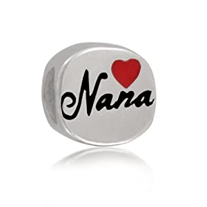 Mothers Day Gifts Bling Jewelry 925 Sterling Silver Red Heart Nana Bead Charm Pandora Compatible