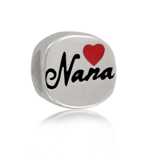 Bling Jewelry 925 Sterling Silver Red Heart Nana Bead Charm Pandora Compatible