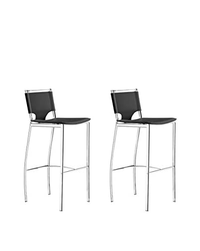 Zuo Set of 2 Lark Bar Chairs, Black