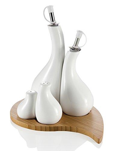 Brandani 55452 Ménage Goccia Huile/Vinaigre/Sel/Poivre Set de 4 Pièces avec Support Porcelaine/Bambou