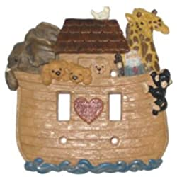 Noahs Ark Double Brown Switch Plate Cover