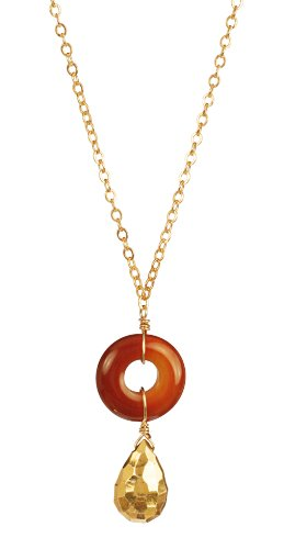 Ring of Fire Delicate Carnelian Pendant Necklace with Gold Plated Chain Necklace 18