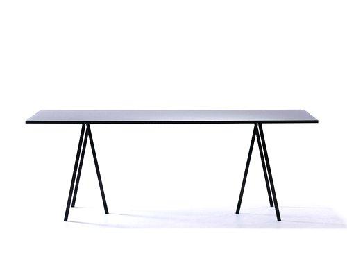 HAY Schreibtisch Loop Stand Table M - schwarz Leif Jørgensen, Platte: Linoleum, Sperrholz #Beine: Stahl pulverbeschichtet