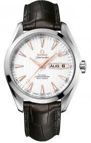 Omega Aqua Terra Silver Dial Black Lather Mens Watch 23113432202002