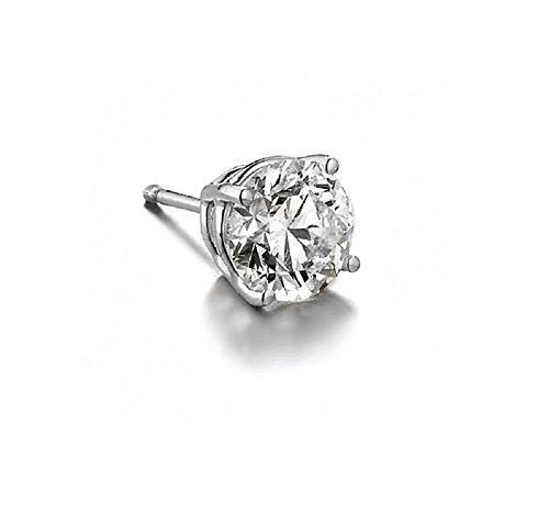 "Queen Jewelers 14K White Gold Diamond Single Stud Earring For Men ""Brilliant Ideal Cut"