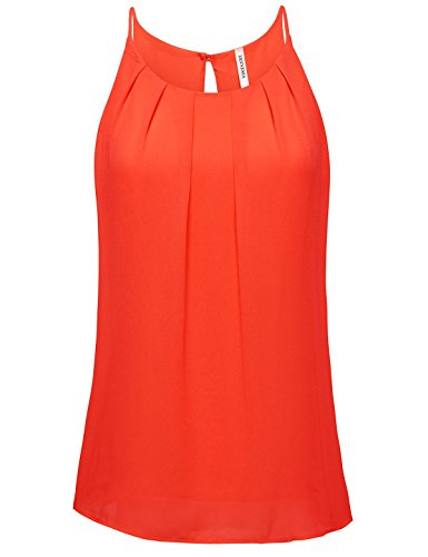 ZENNESSA's Womens Scoop Neck Pleated Front Fitted Chiffon Cami Tank Tops Small Tomato (Office Tomatos compare prices)
