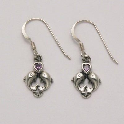 Dolphin Amethyst Heart Earrings