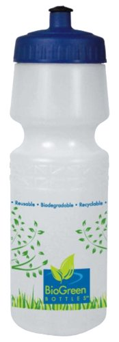 BioGreen Biodegradable BPA-Free Sport Bottle with Wide Mouth DuoFlow Lid (26-Ounce, Frosted Clear, Trees)