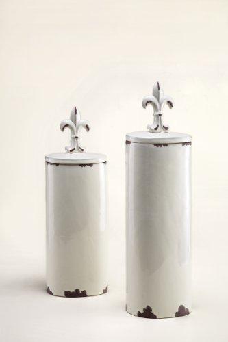 Fleur de Lis Tall Ceramic Jars