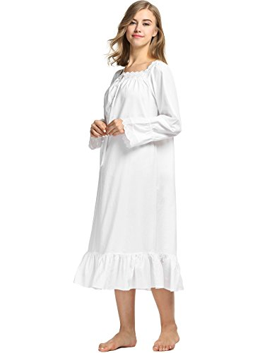 Avidlove Womens Cotton Victorian Nightgowns Romantic Long Bell Sleeve Nightshirt 3