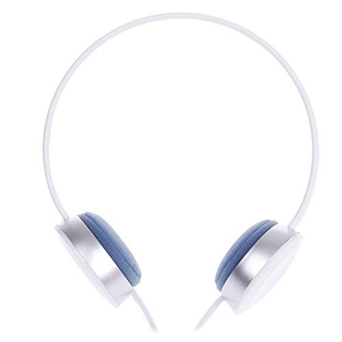 Stylish Stereo Headphones W/ Mic - White + Silver + Blue
