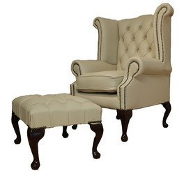 chesterfield offer ivory cream queen anne high back wing chair with footstool. Black Bedroom Furniture Sets. Home Design Ideas