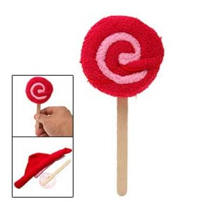 Red Kids Hand Towel Washcloth Shaped Swirl Lollipop
