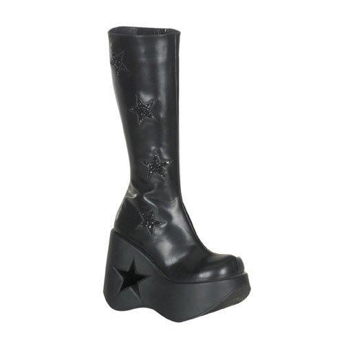 Demonia Womens Goth Wedge Knee Boots Dynamite-600 black matt Size 5 UK