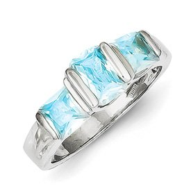 Genuine IceCarats Designer Jewelry Gift Sterling Silver Blue Topaz Ring Size 6.00