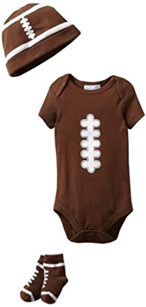 Vitamins Baby Baby-Boys Newborn 3 Piece Football Gift Set, Brown, 6/12