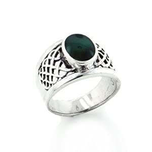 Celtic Knot Sterling Silver and Green Agate Inlay Wide Mens Band Ring Size 10(Sizes 10,11,12,13)