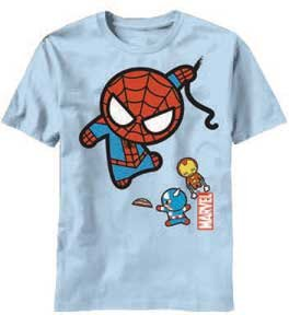 Marvel Toy Captain America Ironman Spider-man Men's Light Blue T-shirt