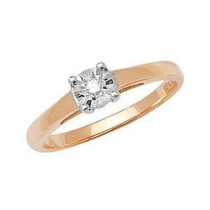 Unique Wishlist 9ct Yellow Gold 3pt Illusion Set Diamond Solitaire Ring