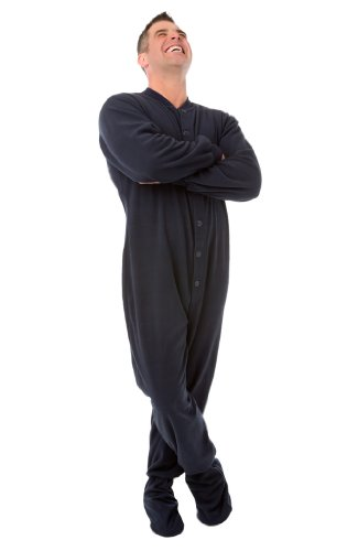 Big Feet Pajama Co'S Blue Micro-Polar Fleece Adult Footed Pajamas W/ Drop-Seat (202) (Medium) front-477410