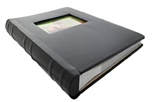 Deluxe Leather Photo Album with Faux Suede Interior Lining - Stores 300 Pictures, Black