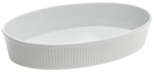 Pillivuyt Plisse 2-Quart Deep Oval Baker, White